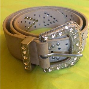 Studded Out Crystal Buckle Brand Belt